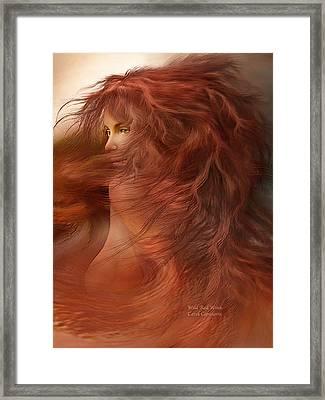 Wild Red Wind Framed Print by Carol Cavalaris