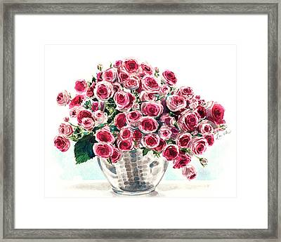 Wild Roses In Mercury Glass Framed Print by Laura Row