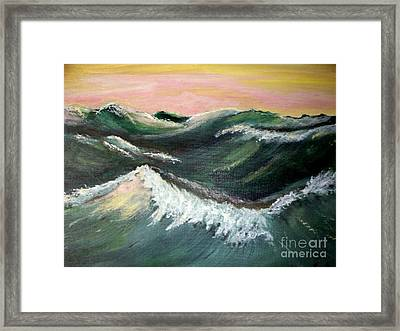 Framed Print featuring the painting Wild Sea by Carol Grimes