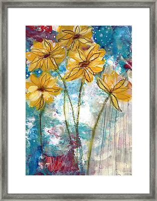 Wild Sunflowers- Art By Linda Woods Framed Print by Linda Woods