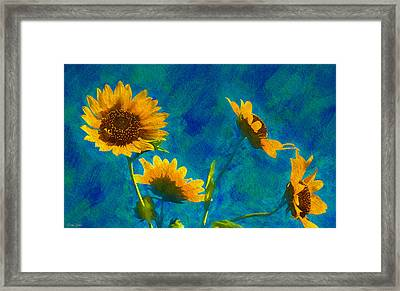 Wild Sunflowers Singing Framed Print