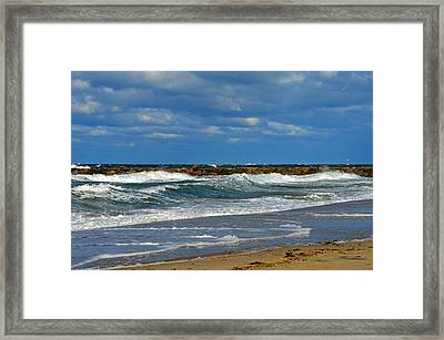 Wild Surf In Cape Cod Bay Framed Print by Dianne Cowen