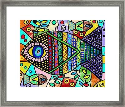 Wild Tribal Clown Fish Framed Print by Sandra Silberzweig