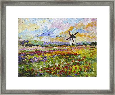 Framed Print featuring the painting Wild Tulips Dutch Country Side by Ginette Callaway