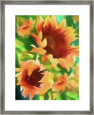 Wild Vibrant Sunflowers Framed Print by Georgiana Romanovna