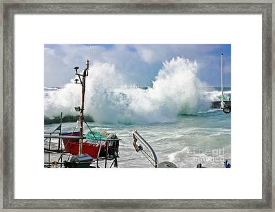 Wild Waves In Cornwall Framed Print by Terri Waters