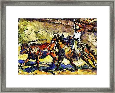 Wild Wild West Van Gogh Style Expressionism Framed Print by Georgiana Romanovna