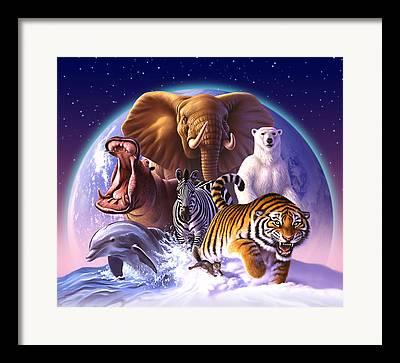 Tigers Digital Art Framed Prints
