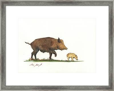Wildboar Piglet Framed Print