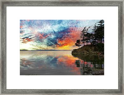 Wildcat Cove In Washington State At Sunset Framed Print by David Gn