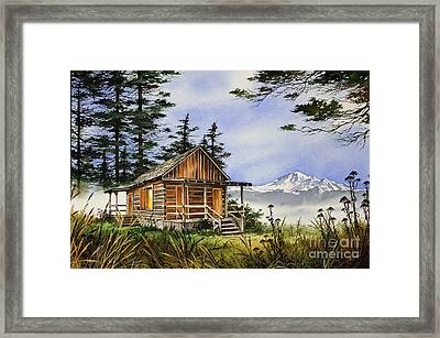 Wilderness Cabin Framed Print by James Williamson