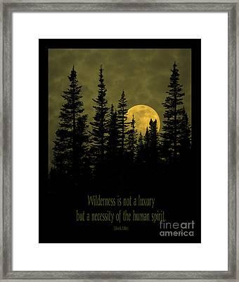 Wilderness Is Not A Luxury Framed Print by John Stephens