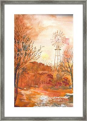 Framed Print featuring the painting Wilderness Windmill by Sharon Mick
