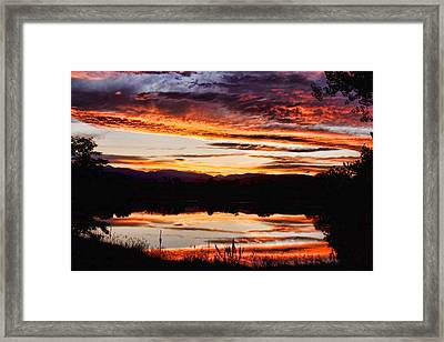 Wildfire Sunset Reflection Image 28 Framed Print