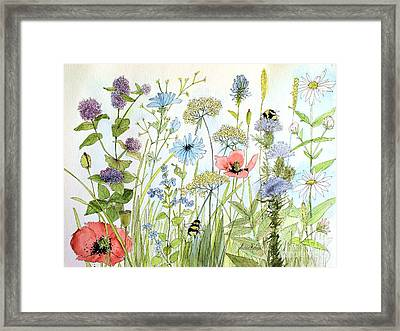 Framed Print featuring the painting Wildflower And Bees by Laurie Rohner