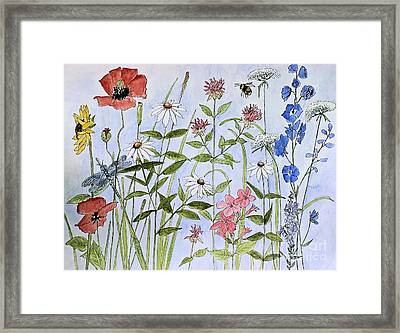 Framed Print featuring the painting Wildflower And Blue Sky by Laurie Rohner