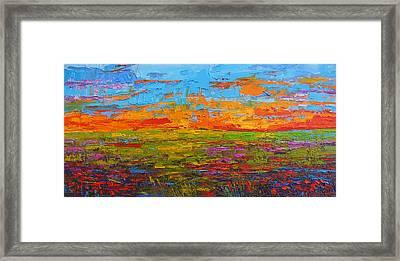 Wildflower Field At Sunset - Modern Impressionist Oil Palette Knife Painting Framed Print