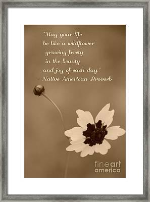 Wildflower Proverb Framed Print
