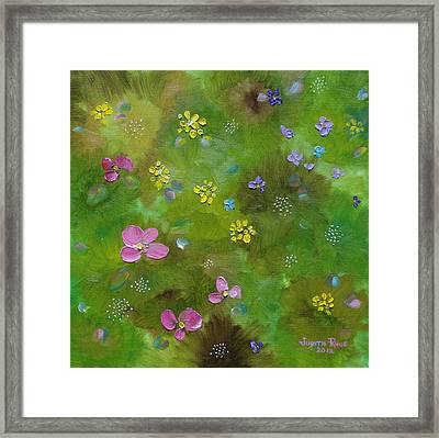 Framed Print featuring the painting Wildflower Support by Judith Rhue
