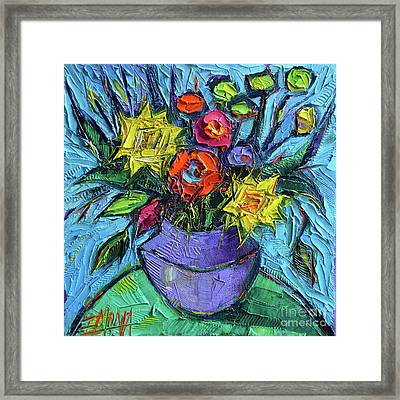 Wildflowers Bouquet On Green Table - Impasto Palette Knife Oil Painting - Mona Edulesco Framed Print