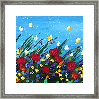 Wildflowers Dancing Framed Print by Cathy Jacobs