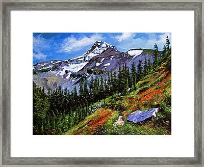 Wildflowers Mount Hood Framed Print by David Lloyd Glover