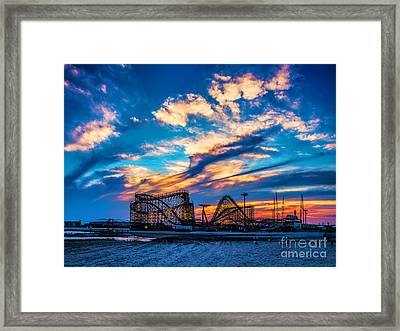 Wildwood Beach Sunset Framed Print