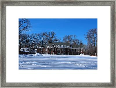 Framed Print featuring the photograph Wildwood Manor House In The Winter by Michiale Schneider
