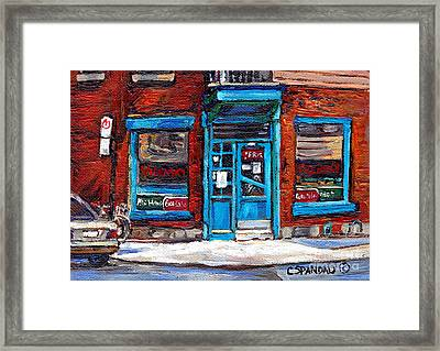 Wilensky's Doorway With Bicycle Montreal Memories Best Original Canadian Paintings For Sale Cspandau Framed Print