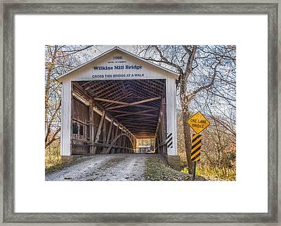 Wilkins Mill Covered Bridge Framed Print