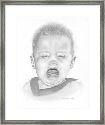 Will In Tears Framed Print by Sue Olson