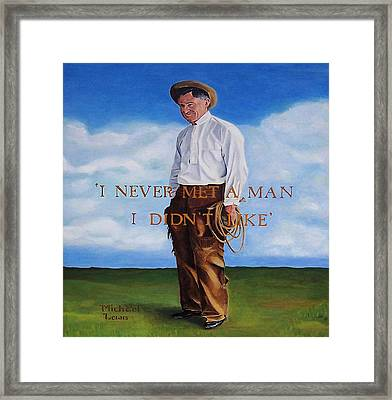Will Rogers Framed Print by Michael Lewis
