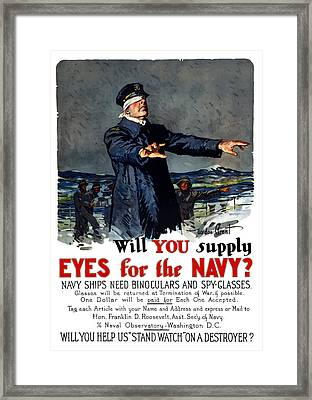 Will You Supply Eyes For The Navy Framed Print by War Is Hell Store