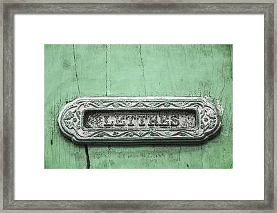 Will You Write - Jade Green Letter Box Framed Print