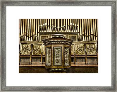 Willard Memorial Chapel Pulpit And Organ Framed Print by Stephen Stookey