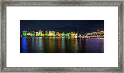 Framed Print featuring the photograph Willemstad And Queen Emma Bridge At Night by Adam Romanowicz