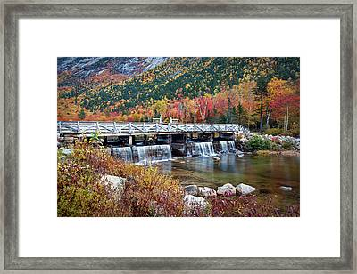 Willey Pond Damn Foliage Framed Print by Eric Gendron