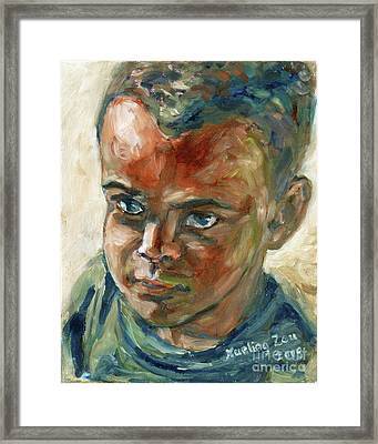 Framed Print featuring the painting Willful Boy by Xueling Zou
