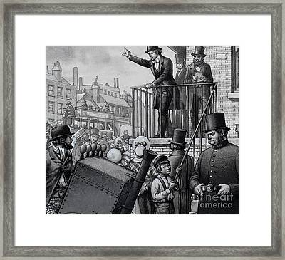 William Booth Preaching In The Open Air Framed Print by Pat Nicolle