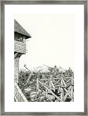 William Of Normandy's Troops Advancing Up The Thames Framed Print by Pat Nicolle
