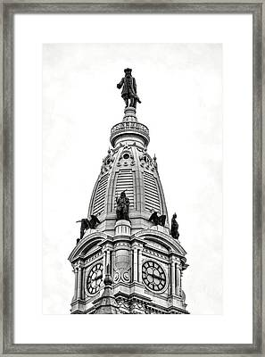 William Penn Statue Atop Philadelphia City Hall Framed Print by Olivier Le Queinec