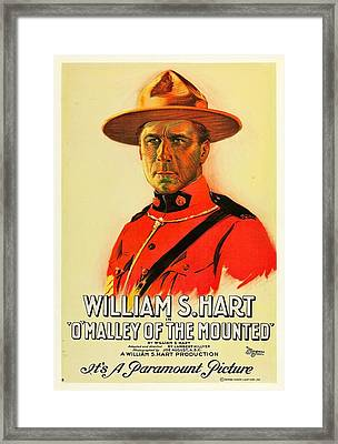 William S Hart In O'malley Of The Mounted 1921 Framed Print by Mountain Dreams