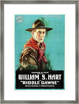 William S Hart In Riddle Gawne 1918 Framed Print by Mountain Dreams