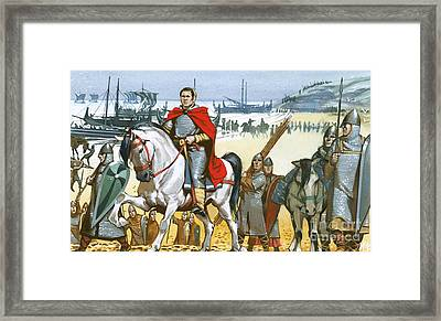 William The Conqueror Arriving In England  Framed Print