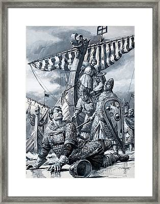 William The Conqueror Falls At Hastings Framed Print