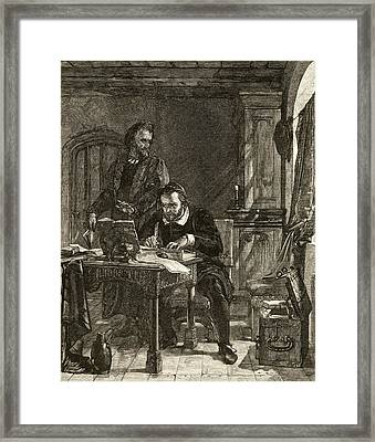 William Tyndale,1494-1536. Bible Framed Print