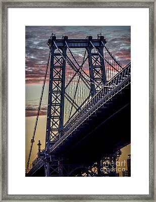 Williamsburg Bridge Structure Framed Print by James Aiken