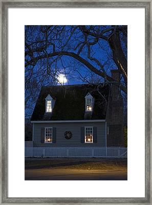 Williamsburg House In Moonlight Framed Print