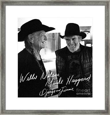 Willie And Merle Autographed Framed Print by Pd