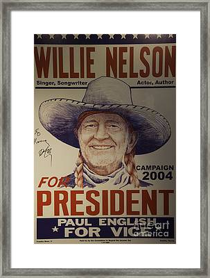 Willie For President Framed Print